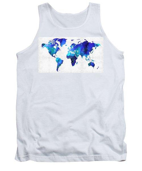 World Map 17 - Blue Art By Sharon Cummings Tank Top