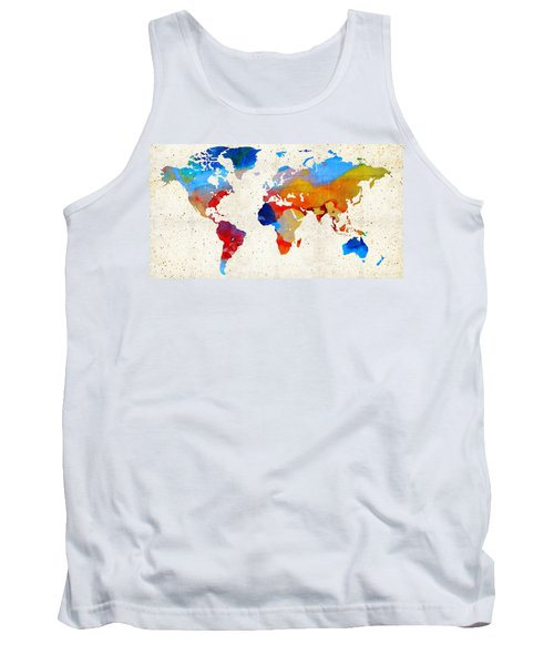 World Map 18 - Colorful Art By Sharon Cummings Tank Top