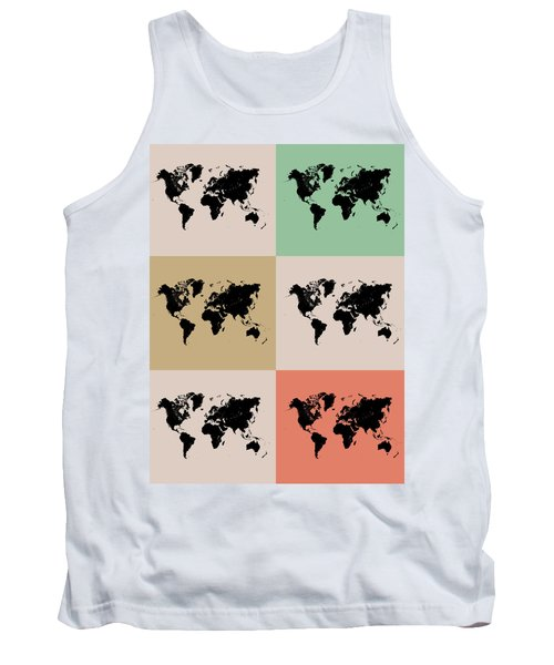 World Map Grid Poster 2 Tank Top