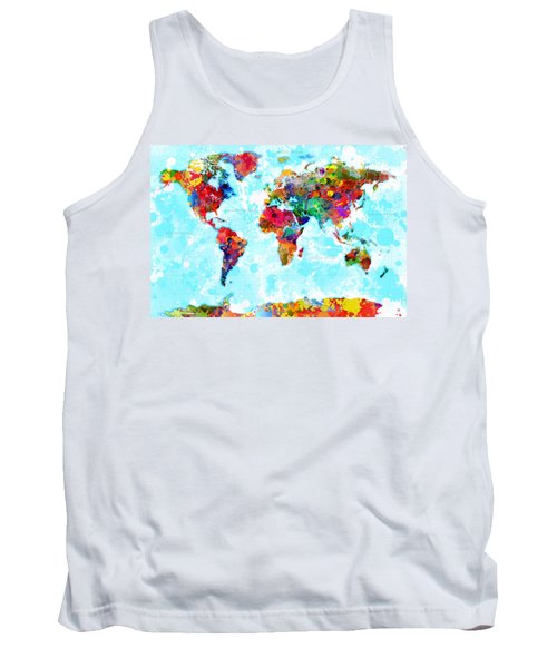 World Map Spattered Paint Tank Top