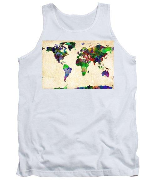 World Map Watercolor Tank Top