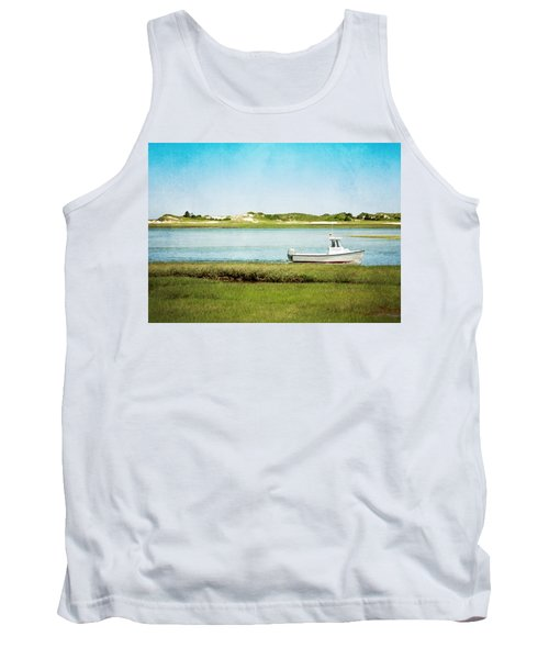 Tank Top featuring the photograph Yarmouth Port Fishing Boat In Green And Blue by Brooke T Ryan