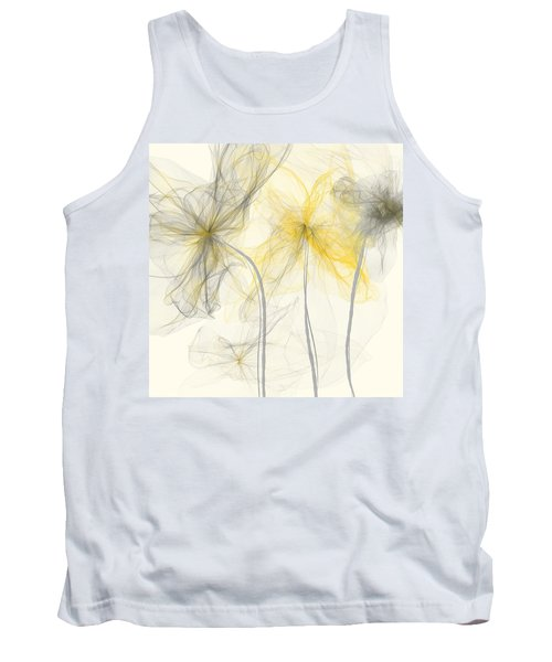 Yellow And Gray Flowers Impressionist Tank Top