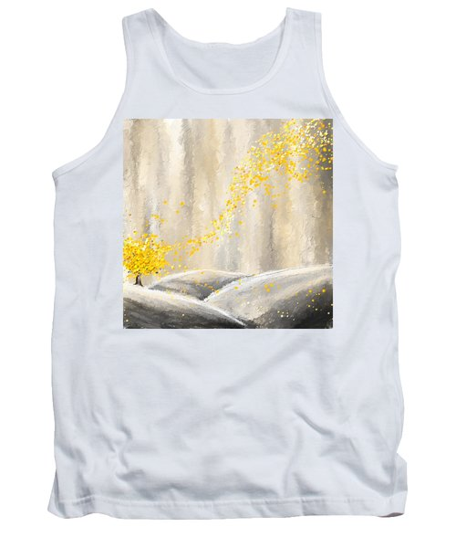 Yellow And Gray Landscape Tank Top
