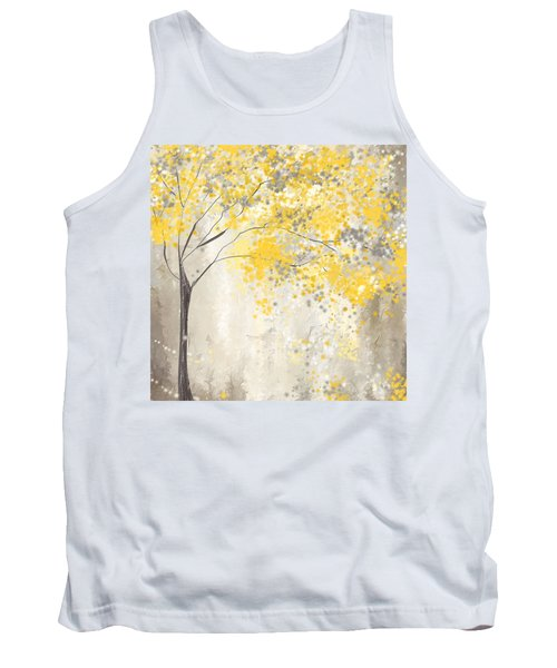 Yellow And Gray Tree Tank Top