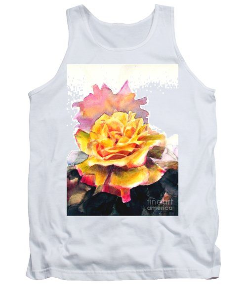 Tank Top featuring the painting Yellow Rose Fringed In Red by Greta Corens