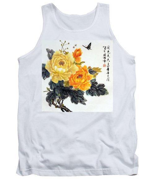 Yellow Peonies Tank Top by Yufeng Wang