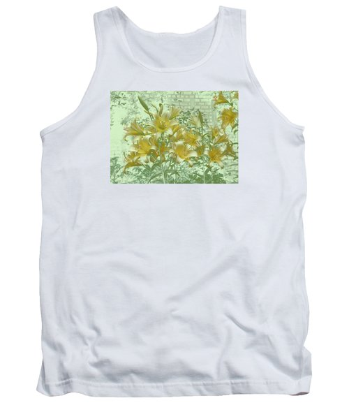 Tank Top featuring the photograph Yellow Stargazers On Soft Green by Tom Wurl