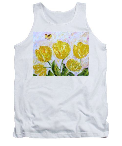 Yellow Tulips And Butterfly Tank Top