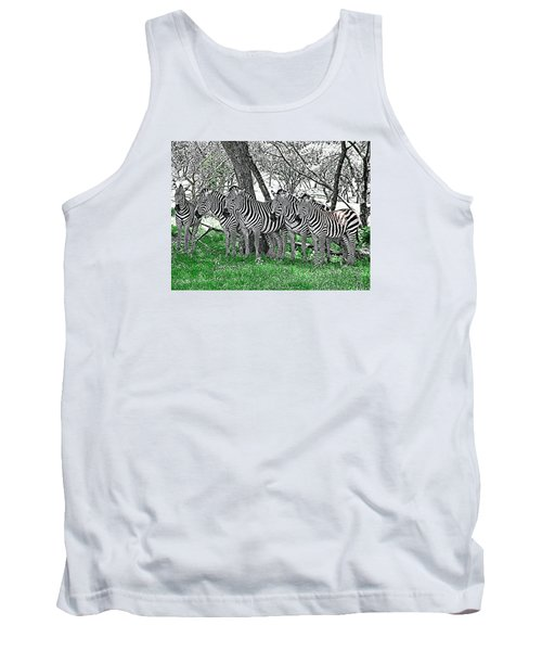 Tank Top featuring the photograph Zebras by Kathy Churchman