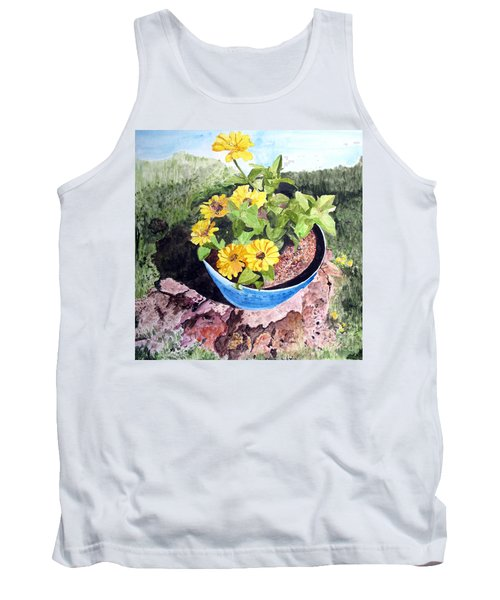 Tank Top featuring the painting Zinnia On A Tree Stump by Sandy McIntire