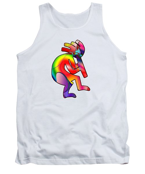 Tank Top featuring the photograph  Colorful Kokopelli Silhouette by Susan Leggett