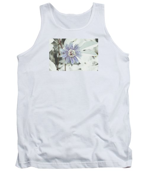 Passion Flower On White Tank Top