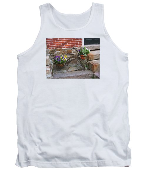 Tank Top featuring the photograph Flower Bicycle Basket by Val Miller