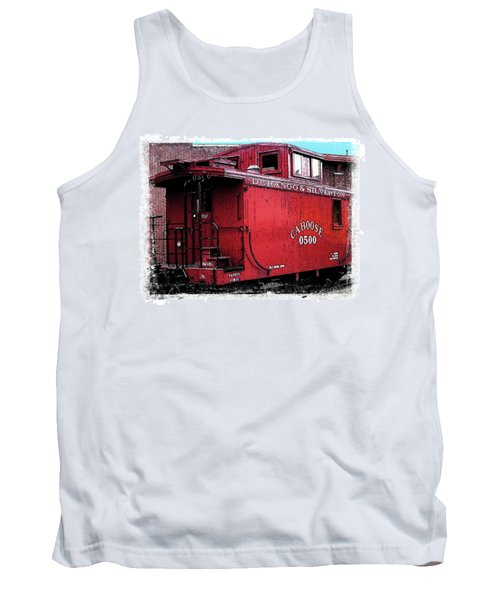 Tank Top featuring the digital art My Little Red Caboose by Gary Baird
