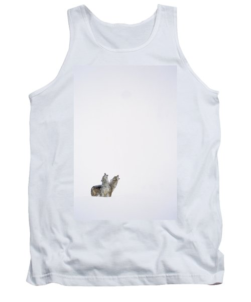 Timber Wolf Pair Howling In Snow North Tank Top