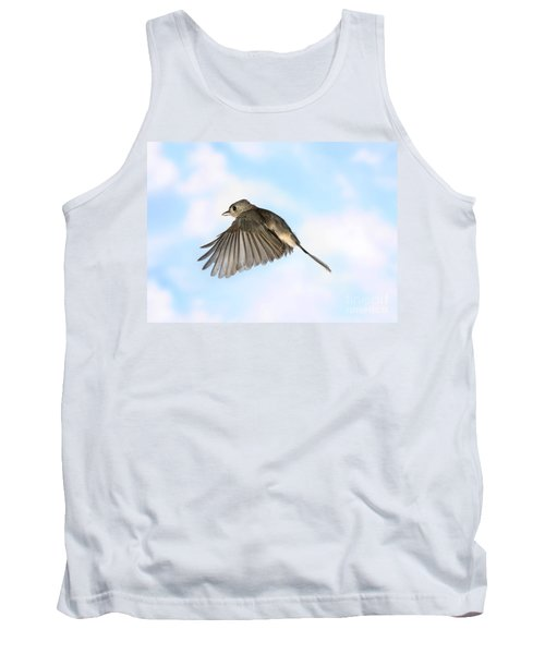 Tufted Titmouse In Flight Tank Top by Ted Kinsman