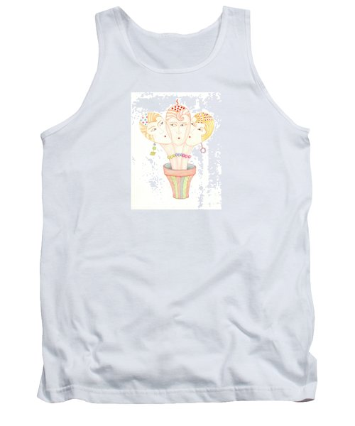Tank Top featuring the painting Flower Pot Ladies by Nareeta Martin