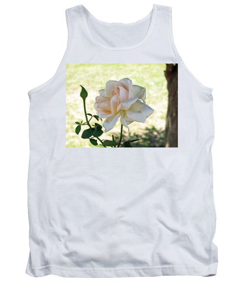 Tank Top featuring the photograph A Beautiful White And Light Pink Rose Along With A Bud by Ashish Agarwal