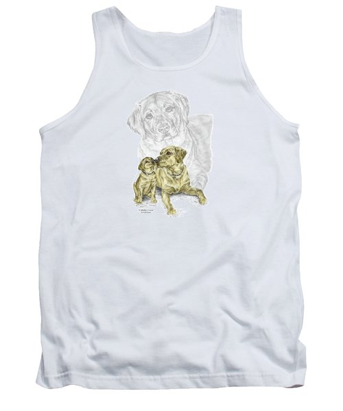 Tank Top featuring the drawing A Mothers Love - Labrador Dog Print Color Tinted by Kelli Swan