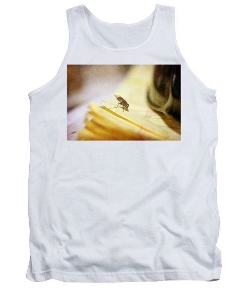 Tank Top featuring the photograph A Red Eyes Fly On The Yellow Paper by Ester  Rogers