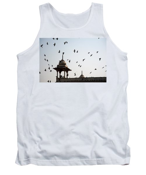 Tank Top featuring the photograph A Whole Flock Of Pigeons On The Top Of The Ramparts Of The Red Fort In New Delhi by Ashish Agarwal