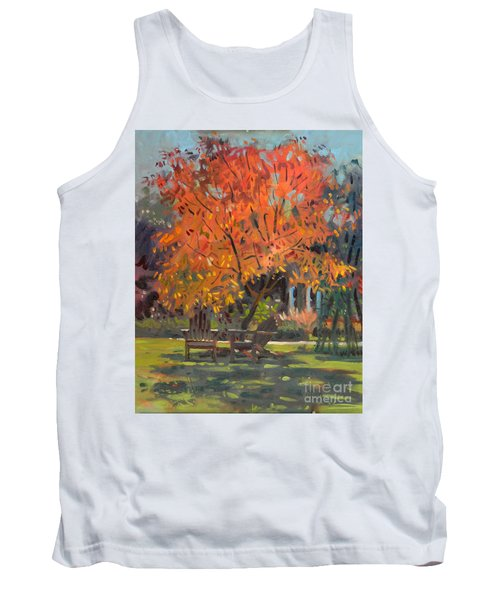 Tank Top featuring the painting Adirondack Chairs by Donald Maier