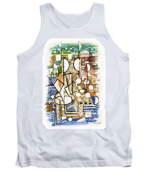 Akko Port Landscape Abstract Blue Green Ocean Water Sun Sky Brown Yellow Colorful City Beach Light Tank Top