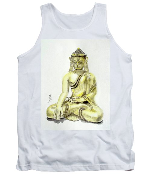 Tank Top featuring the painting An Orient Statue At Toledo Art Museum - Ohio-3 by Yoshiko Mishina