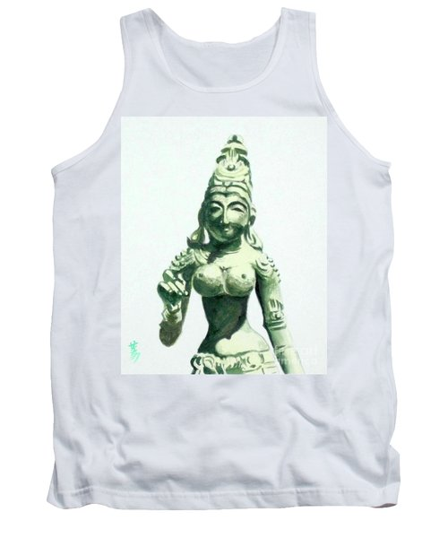 Tank Top featuring the painting An Oriental Statue At The Toledo Museum Of Art-4 by Yoshiko Mishina