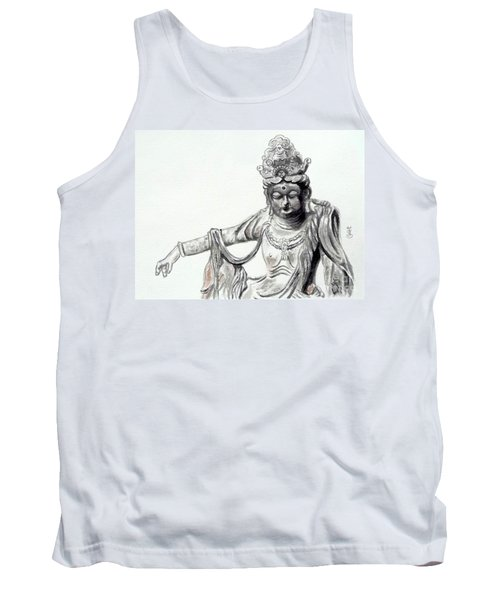 Tank Top featuring the painting An Oriental Statue At Toledo Art Museum - Ohio- 2 by Yoshiko Mishina
