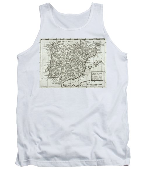 Antique Map Of Spain And Portugal Tank Top