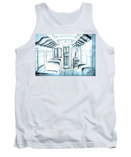 Tank Top featuring the drawing Antique Passenger Car by Shannon Harrington