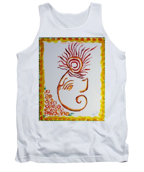 Tank Top featuring the painting Artistic Lord Ganesha by Sonali Gangane