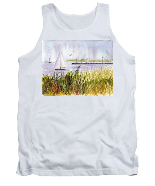 Tank Top featuring the painting Barnegat Sails by Clara Sue Beym