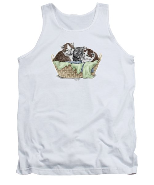 Tank Top featuring the drawing Basket Of Kittens - Cats Art Print Color Tinted by Kelli Swan