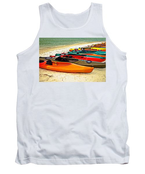 Tank Top featuring the photograph Beach Kayaks by Susan Leggett