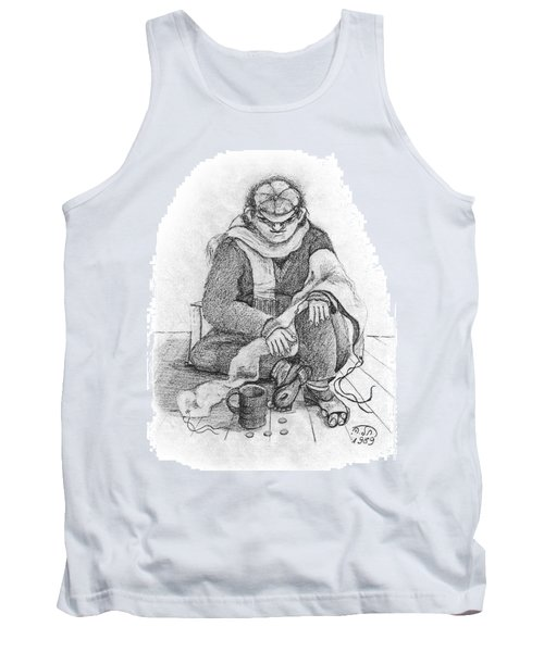 Beggar 2  In The  Winter Street Sitting On Floor Wearing Worn Out Cloths Tank Top