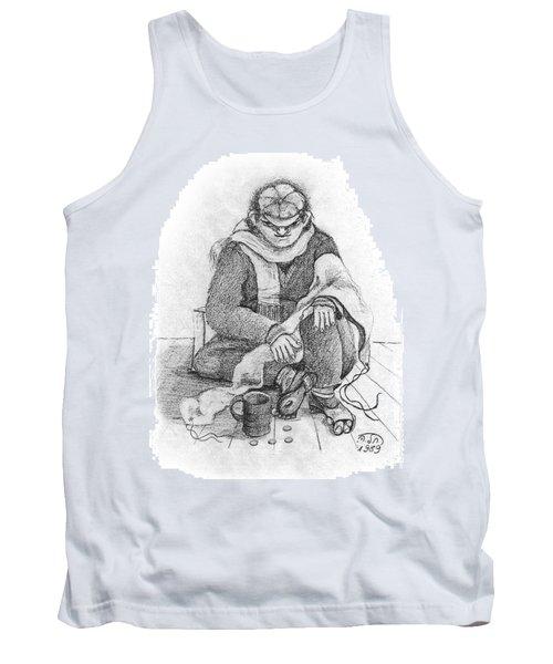 Beggar 2  In The  Winter Street Sitting On Floor Wearing Worn Out Cloths Tank Top by Rachel Hershkovitz