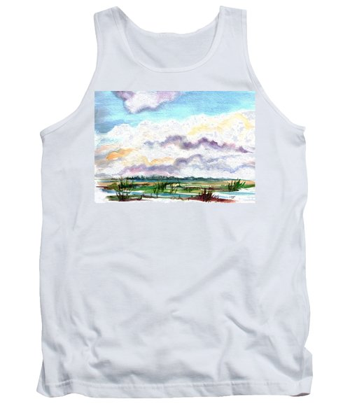 Tank Top featuring the painting Big Clouds by Clara Sue Beym