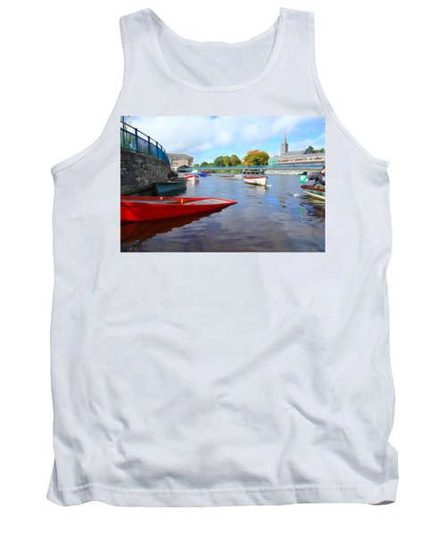 Tank Top featuring the photograph Boats On The Garavogue by Charlie and Norma Brock