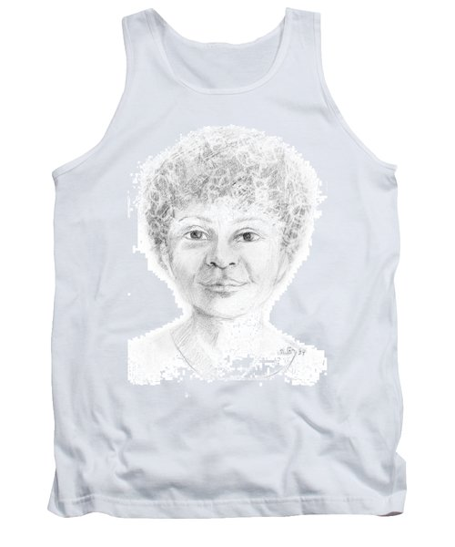 Boy Or Girl Woman Or Man African Or Asian Has Curly Hair Big Lips And A Big Head Tank Top by Rachel Hershkovitz
