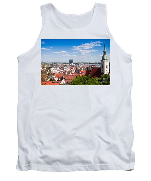 Tank Top featuring the photograph Bratislava Roofs by Les Palenik