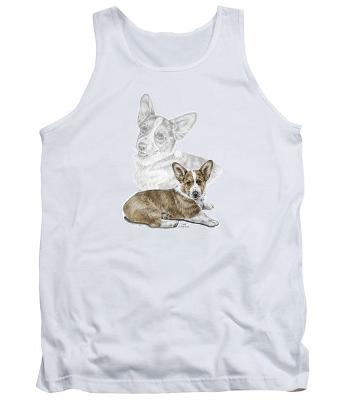 Tank Top featuring the drawing Corgi Dog Art Print Color Tinted by Kelli Swan