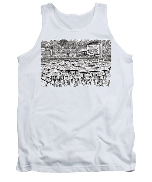 Crowded Beach Black And White Tank Top