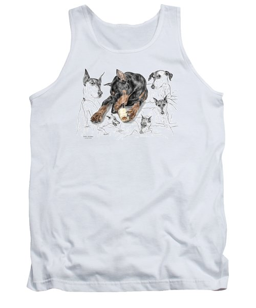 Tank Top featuring the drawing Dober-thoughts - Doberman Pinscher Montage Print Color Tinted by Kelli Swan