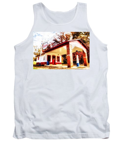 Tank Top featuring the painting Esso Filling Station by Lynne Jenkins