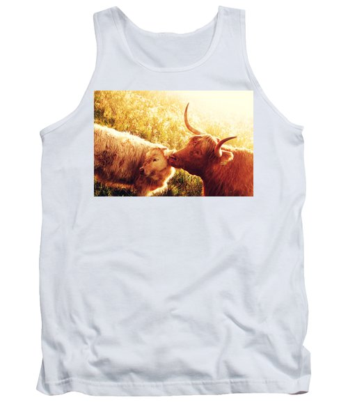 Fenella With Her Daughter. Highland Cows. Scotland Tank Top by Jenny Rainbow