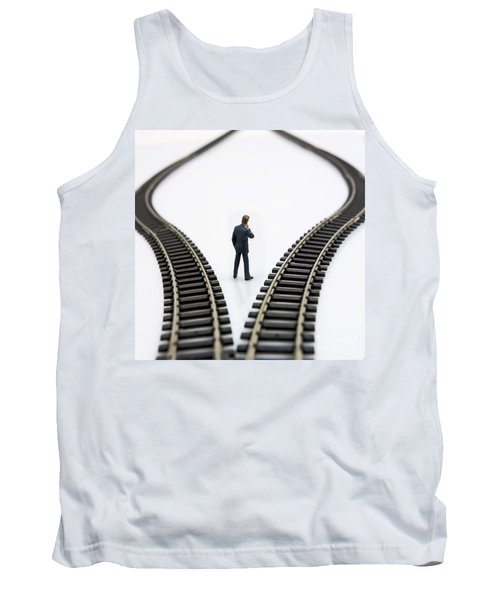Figurine Between Two Tracks Leading Into Different Directions  Symbolic Image For Making Decisions Tank Top