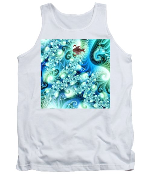 Tank Top featuring the digital art Fractal And Swan by Odon Czintos